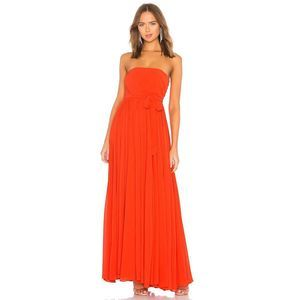 Michael Costello Carrie Pleated Waist Tie Gown